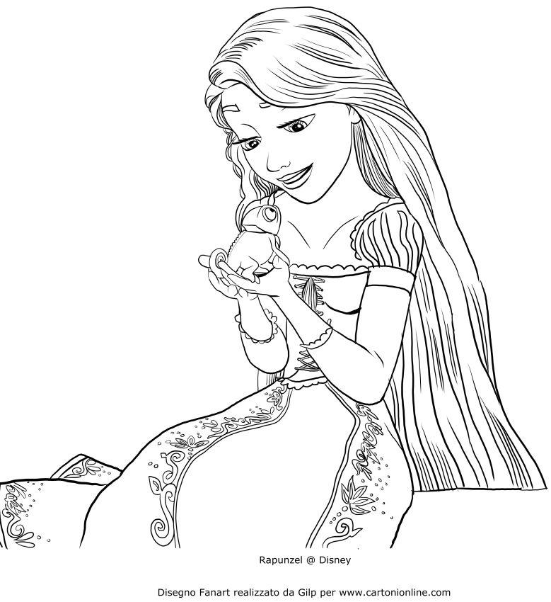Disegno Di Rapunzel Che Parla Con Pascal Da Stampare E Colorare