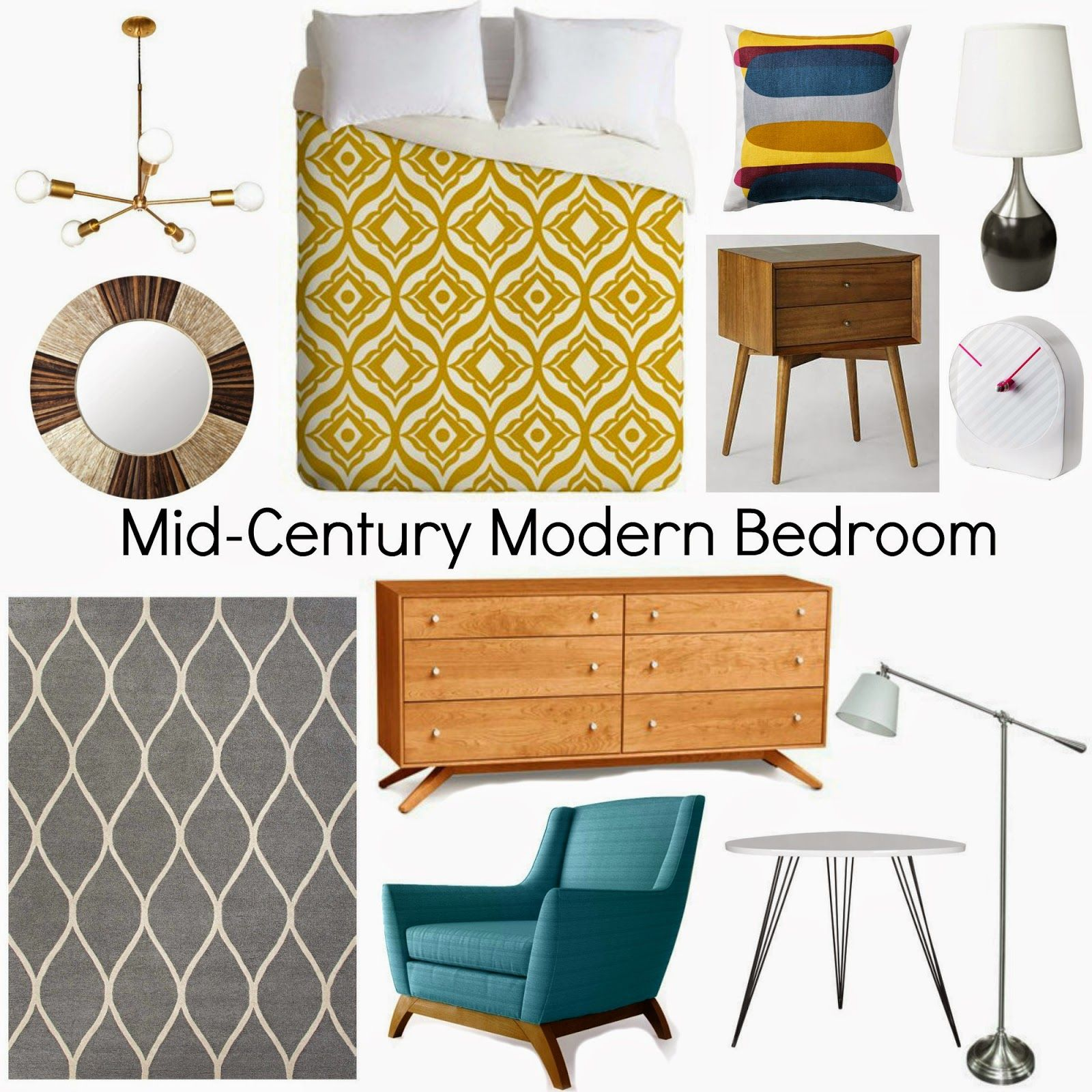 MidCentury Modern Bedroom (Decorating Cents) is part of Modern bedroom Gray - I'm always on the lookout for bedroom ideas since our master bedroom isn't exactly completed  I told you about Dot & Bo last week and an email this week contained pieces for a midcentury modern look