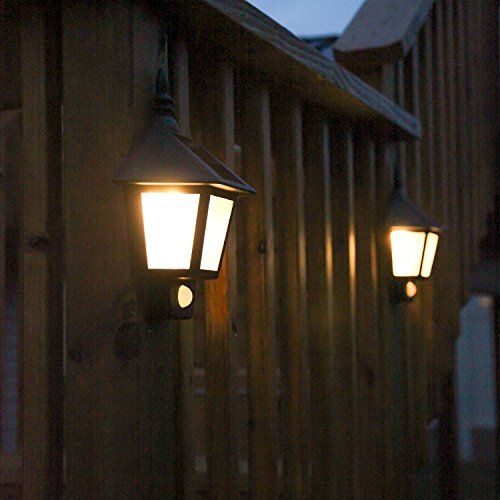 LED Solar Wall Light Outdoor Solar Wall Sconces Vintage Solar Motion Sensor Lights Security Wall ...