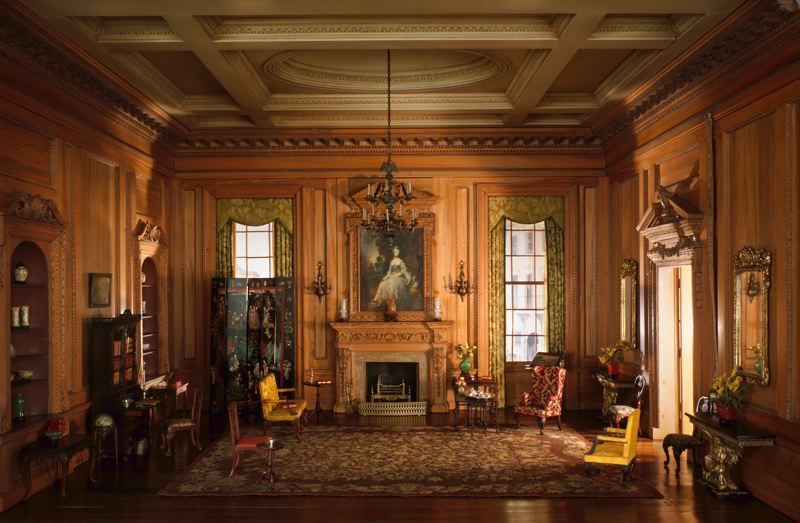 English drawing room of the early georgian period 1730s for American house interior decoration