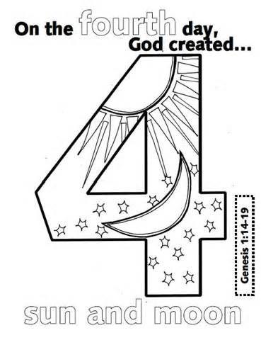 Day 2 Creation Coloring Page Sketch Template școală Biserică
