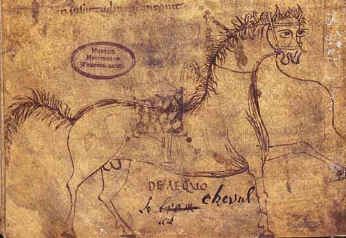 BESTIARIO MEDIEVAL - Caballo-  Bodleian Library, MS. Ashmole. Inglaterra, siglo XII. (De medicina ex animalibus). Autor: Sextus Placitus