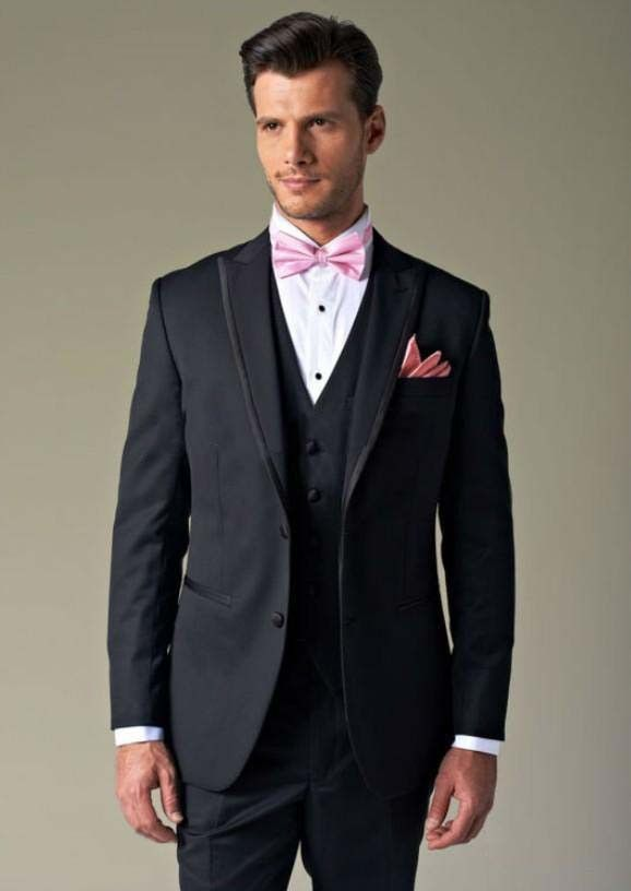 Custom Made Real Sample Black With Gold Line Groom Tuxedos Suits For Wedding Evening Formal