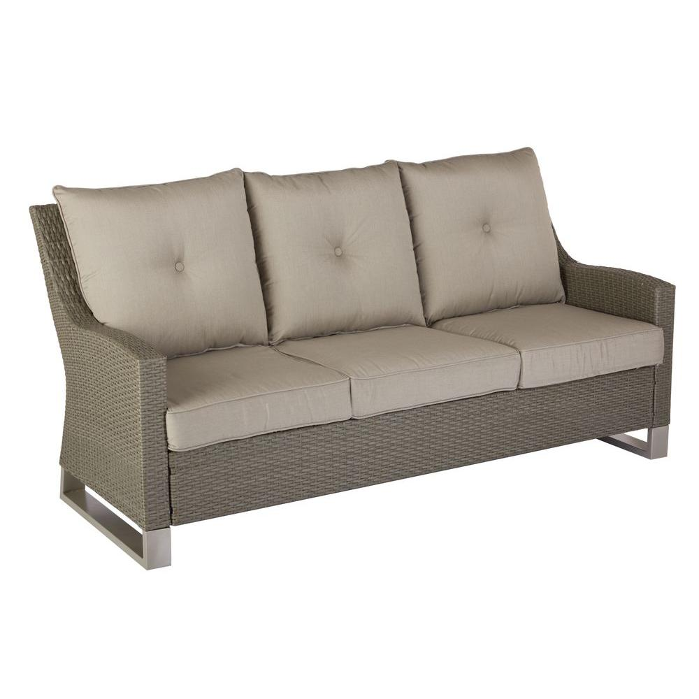 Hampton Bay Broadview Patio Sofa With Spectrum Dove Cushions