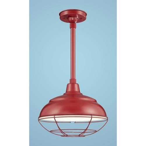 Millennium Lighting R Series Satin Red 14 Inch Warehouse Outdoor Pendant With 24 Inch Stem And Wire Guard Bkit Rwhs14sr Rscksr Rs2sr Rwg14sr Lighting Ceiling Lights Red Kitchen