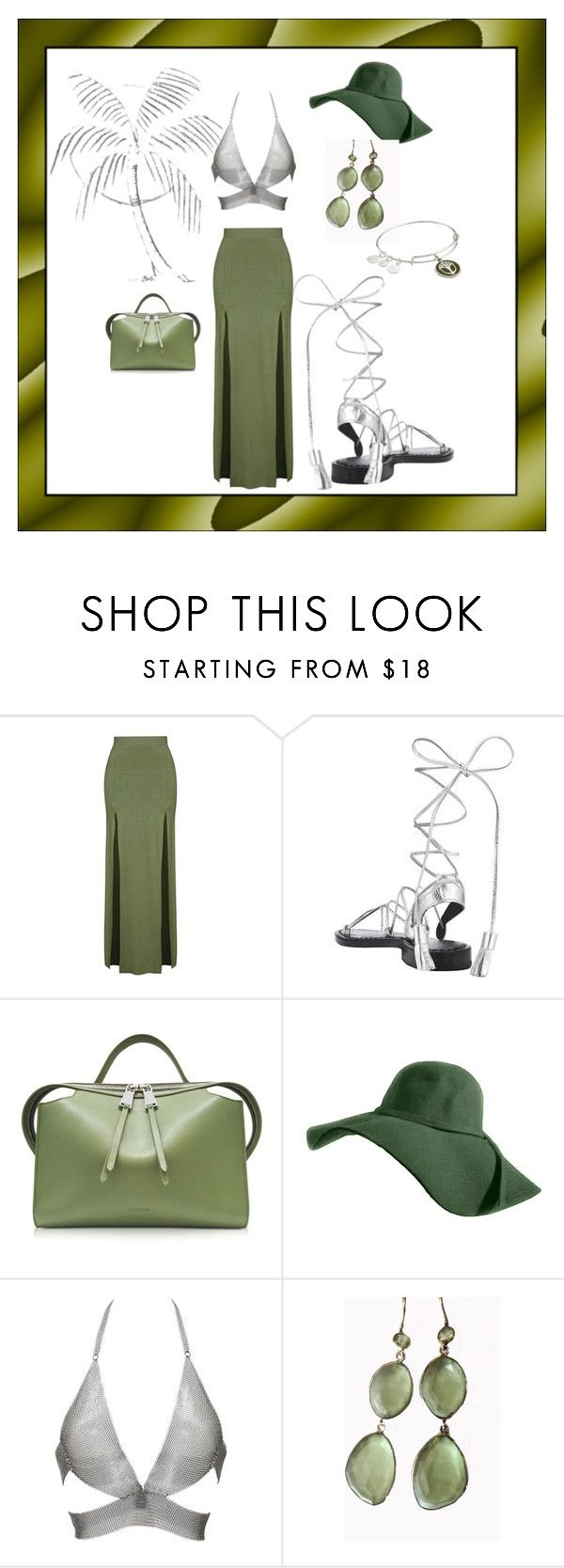 """""""Night Date..Green and Silver.."""" by marlenajo-b ❤ liked on Polyvore featuring Topshop, Jil Sander, Fannie Schiavoni, Blue Candy Jewelry and Alex and Ani"""