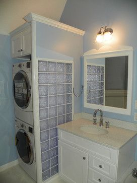 Bathroom remodel with stackable washer dryer bathroom for Bathroom ideas with washer and dryer