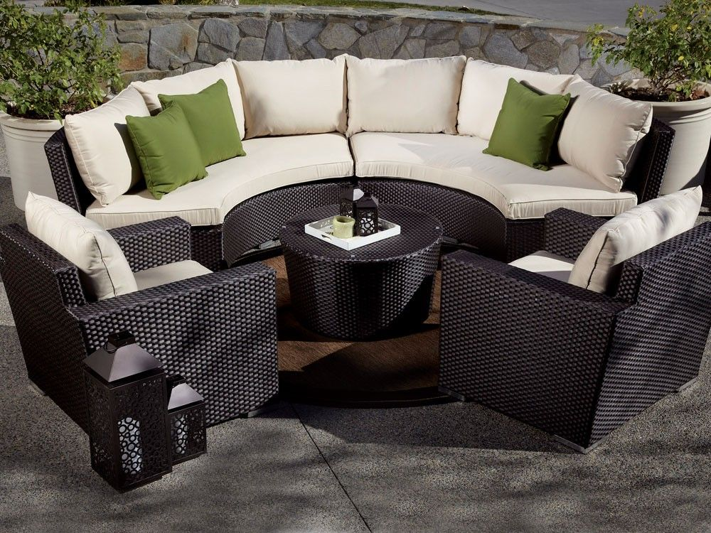 Sunset West Solana 5 Piece Curved Wicker Sectional Set