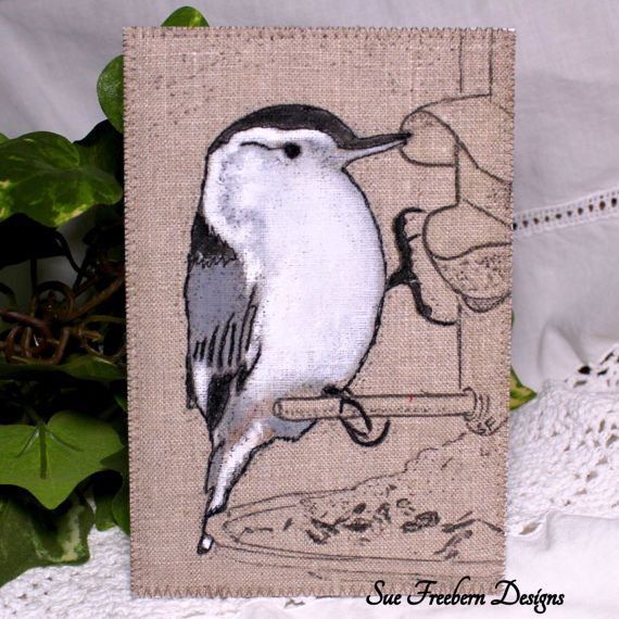 """WHITE- BREASTED NUTHATCH Stitched Fabric Card/Postcard/Greeting Card, Textile Art, Mixed Media, Bird Art, Hand-painted & Quilted 4"""" x 6"""""""