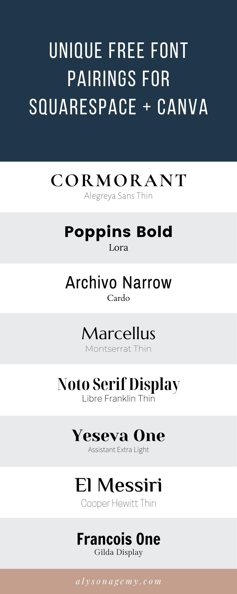 Unique Free Font Pairings For Squarespace Canva Alyson Agemy Graphic Web Design For Creative In 2020 Font Pairing Web Design Font Google Font Pairings