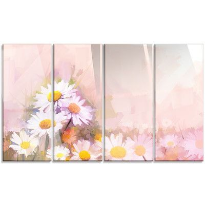 DesignArt 'Gerbera Flowers on Soft Color Back' 4 Piece Painting Print on Canvas Set
