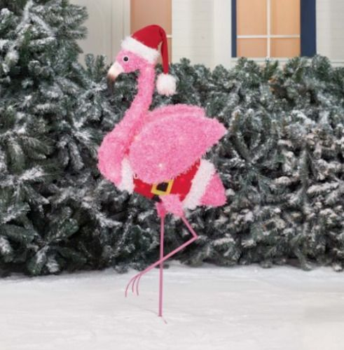christmas decoration light up fluffy christmas flamingo home outdoor yard decor holidaytime