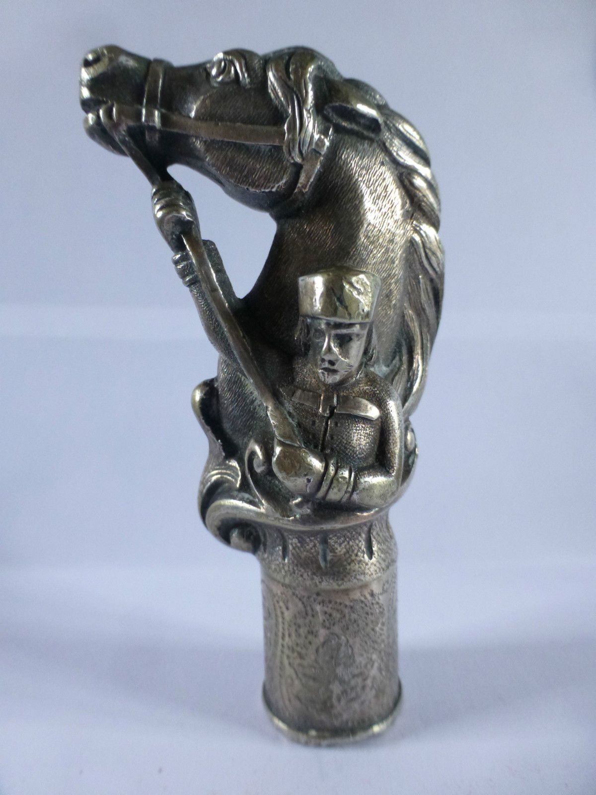 ANTIQUE WALKING STICK TOP with horse  soldier 1900-1920