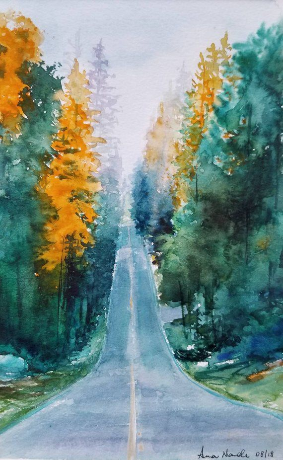 Matted Autumn Forest Road Original Watercolor Handmade Art Wall Decor Watercolor Landscape Paintings Landscape Paintings Watercolor Art Paintings