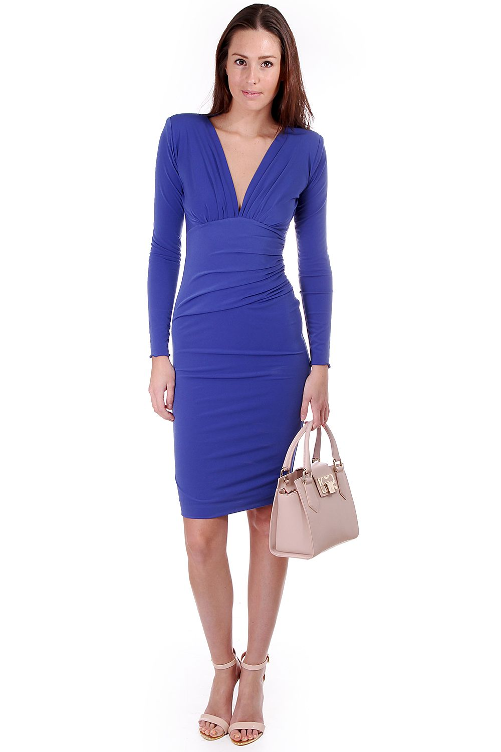 61b0b4e4f453 Kevan Jon plunge dress in maglia jersey - royal blue. Worn here with Nude  Vivienne · Ted Baker ...