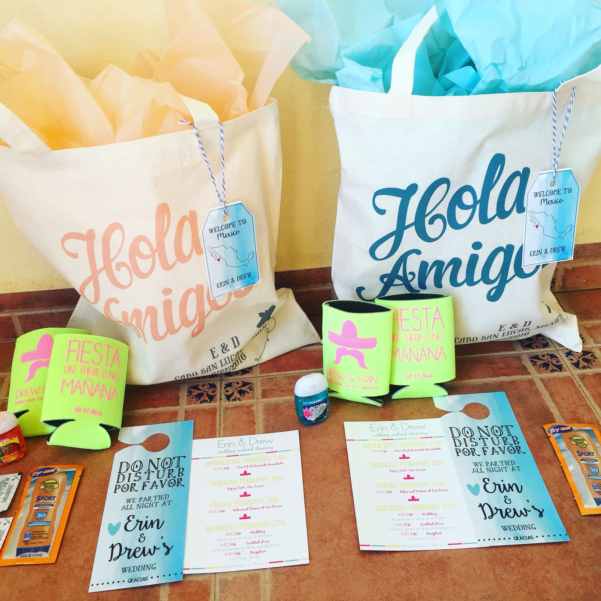 Aloha welcome bags for a destination wedding in mexico for Destination wedding gift bags