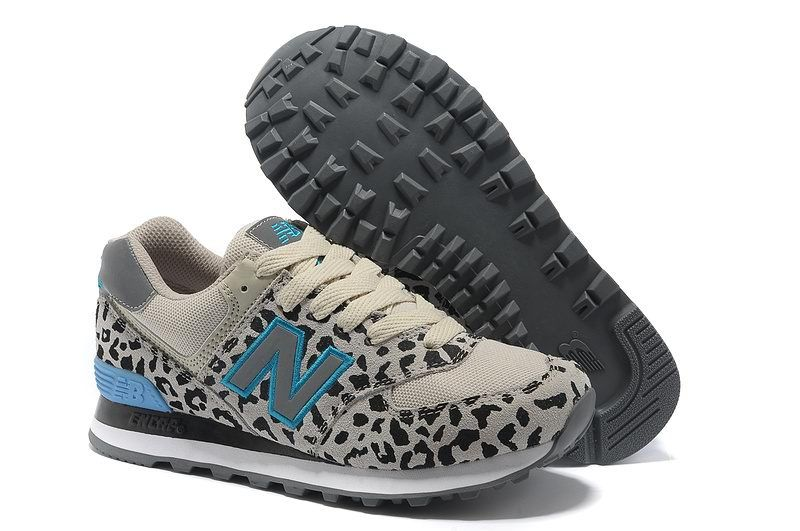 Best New Balance Blue Gray 574 Leopard Print edition Women ...