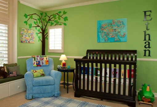 Cuarto de bebe recien nacido verde | Habitación de bebé ...