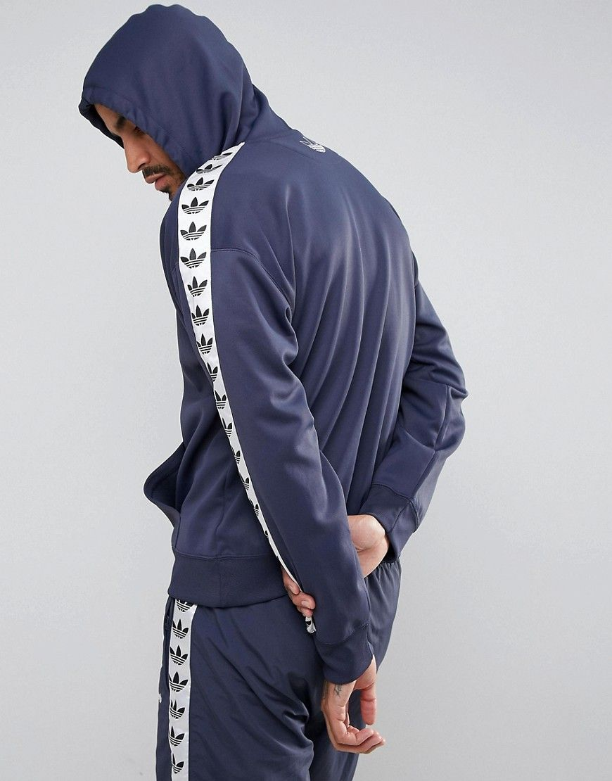 lace up in factory outlets authentic quality adidas Originals Adicolor TNT Tape Hoodie In Blue BS4675 ...