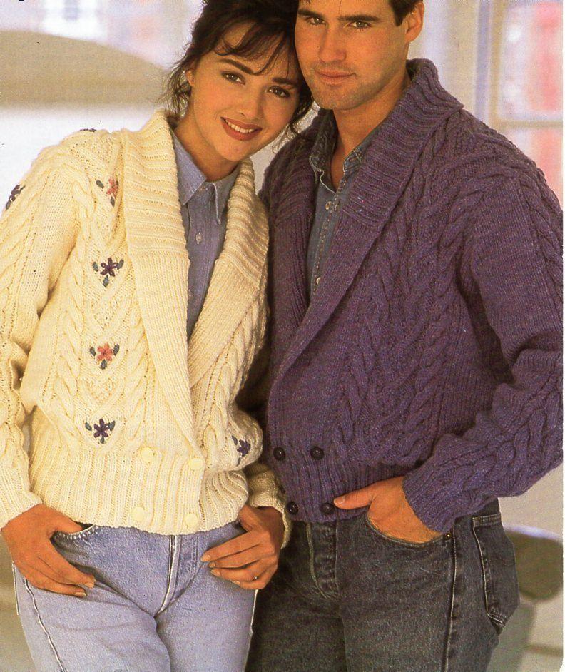 womens / mens aran jackets knitting pattern PDF ladies shawl collar ...