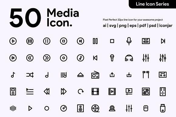 50 Multimedia Line Icon by Kawalan icon on creativemarket