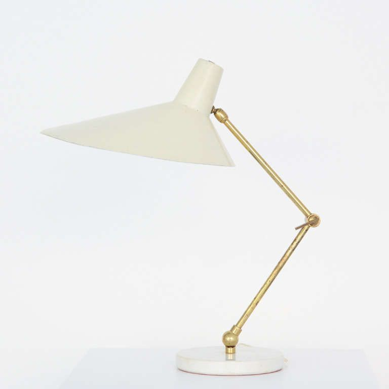 Anonymous; Enameled Aluminum, Marble and Brass Table Lamp by Stilux, 1950s.