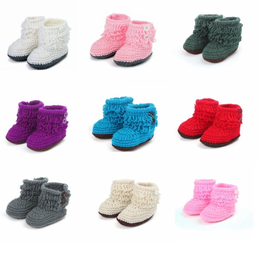 1Pair Handmade Baby Wool Unisex Tassel Crochet Knit Walker Shoes Boot Slippers #Handmade #WalkingShoes
