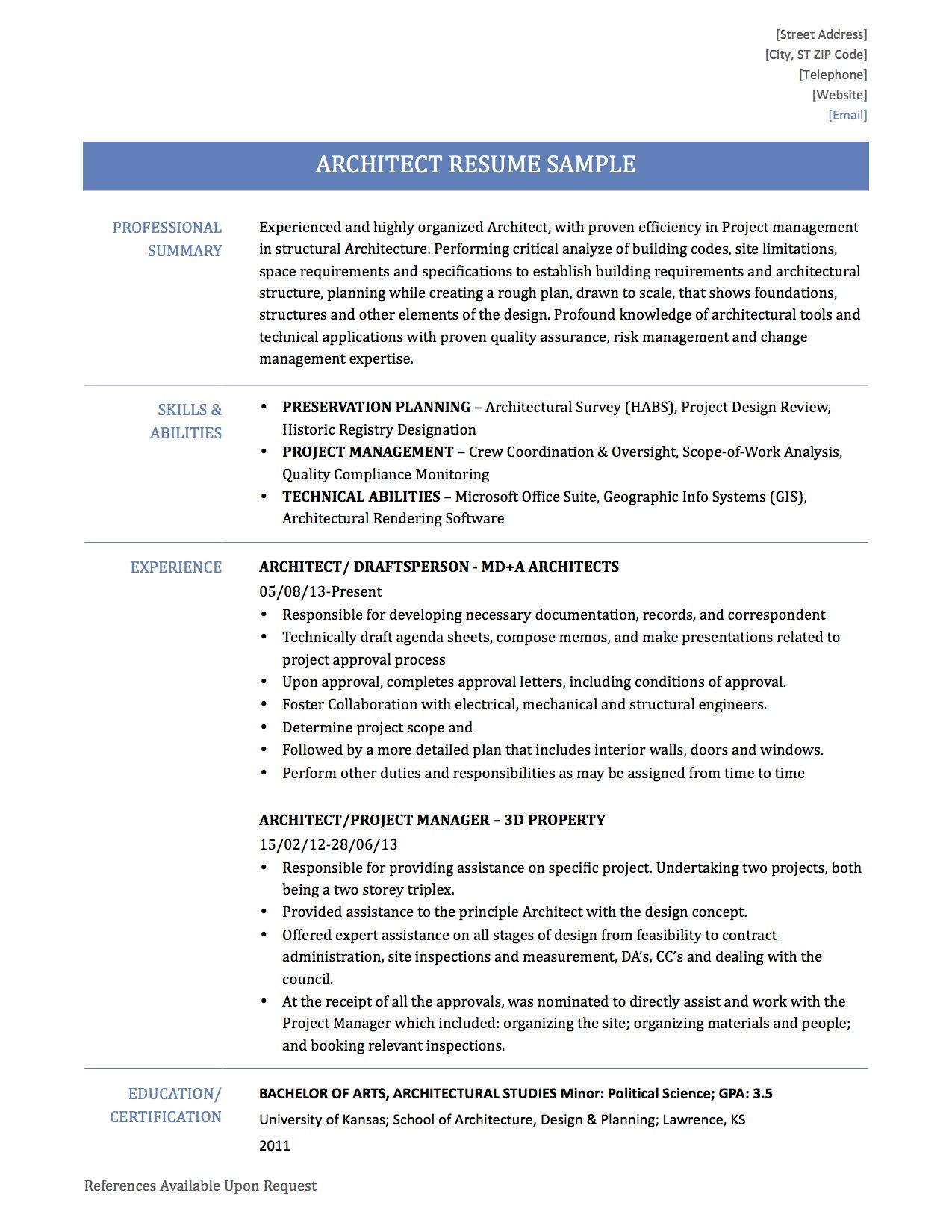 Architect Resume Samples Like All Good Builders You Can Start From Previous Blueprints But