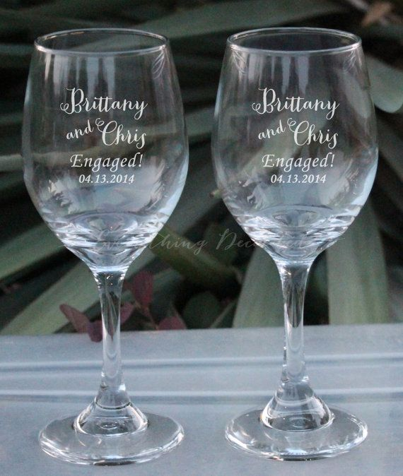 Just Engaged Personalized Wine Glasses - (Set of TWO) Custom ...