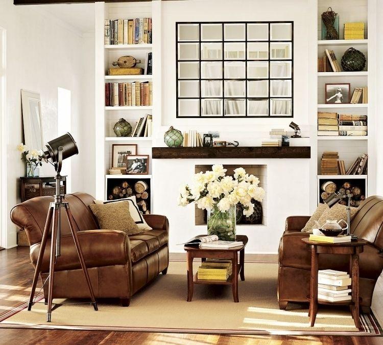 feng shui wohnzimmer einrichten leder couch sessel kamioffen rosen weiss vase buecher. Black Bedroom Furniture Sets. Home Design Ideas