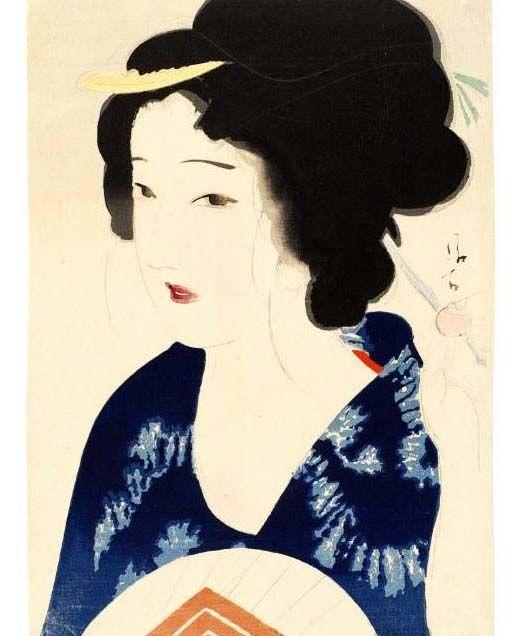 Kaburagi Kiyokata (1878-1972) 鏑木清方 Woman with Fan, 1910