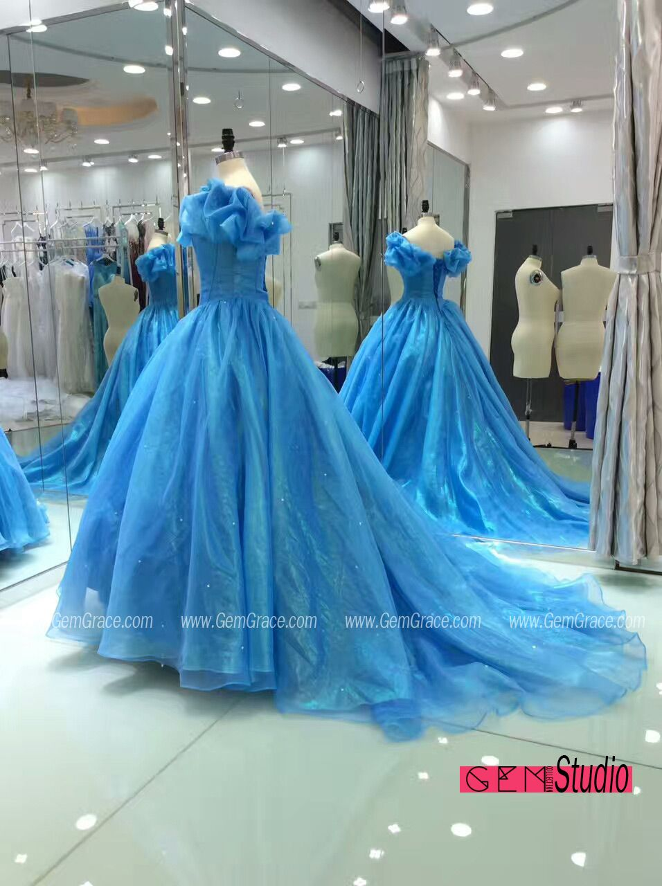 Blue ballgown off shoulder cinderella wedding dress with train