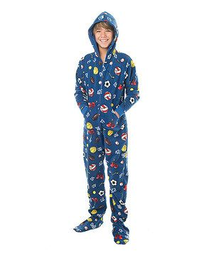 637d44496d Blue Sports Hooded Footie Pajamas - Kids by Footed Pajamas  zulily   zulilyfinds