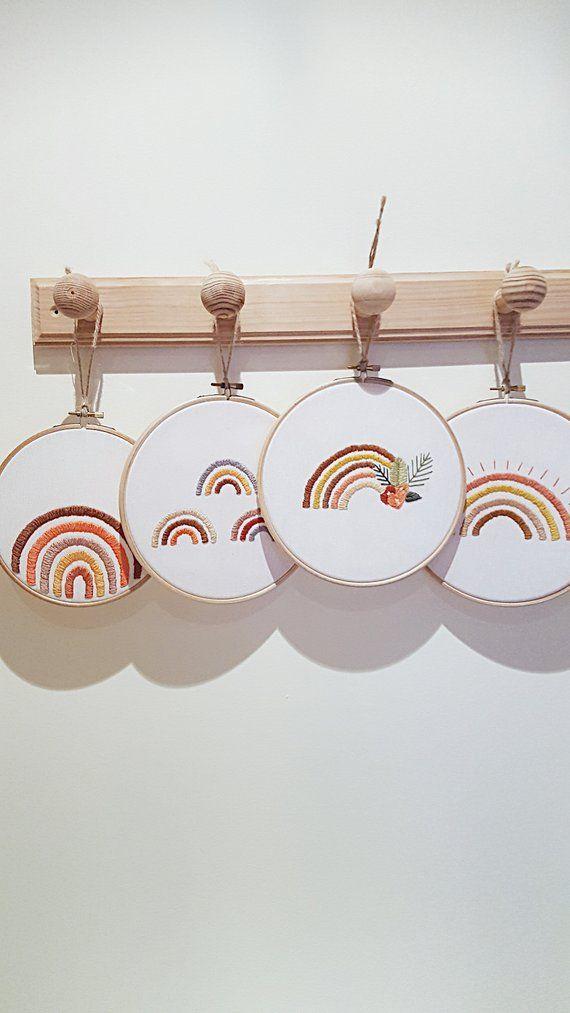 Photo of Nursery rainbow decor – Rainbow modern embroidery – Rainbow print art – Rainbow illustration – Rainbow painting – Rainbow wall art