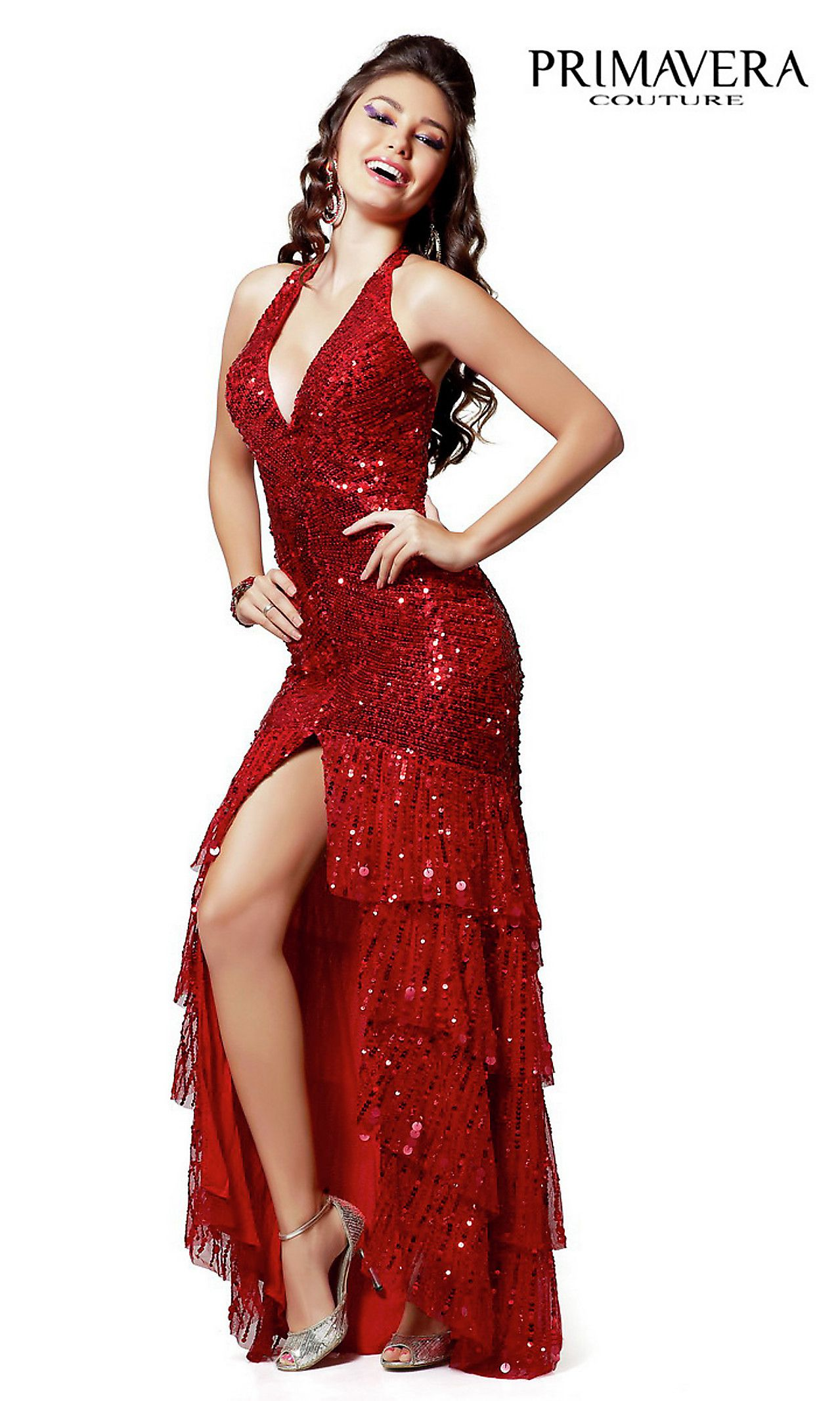Full length vneck layered halter sequin formal gown by primavera
