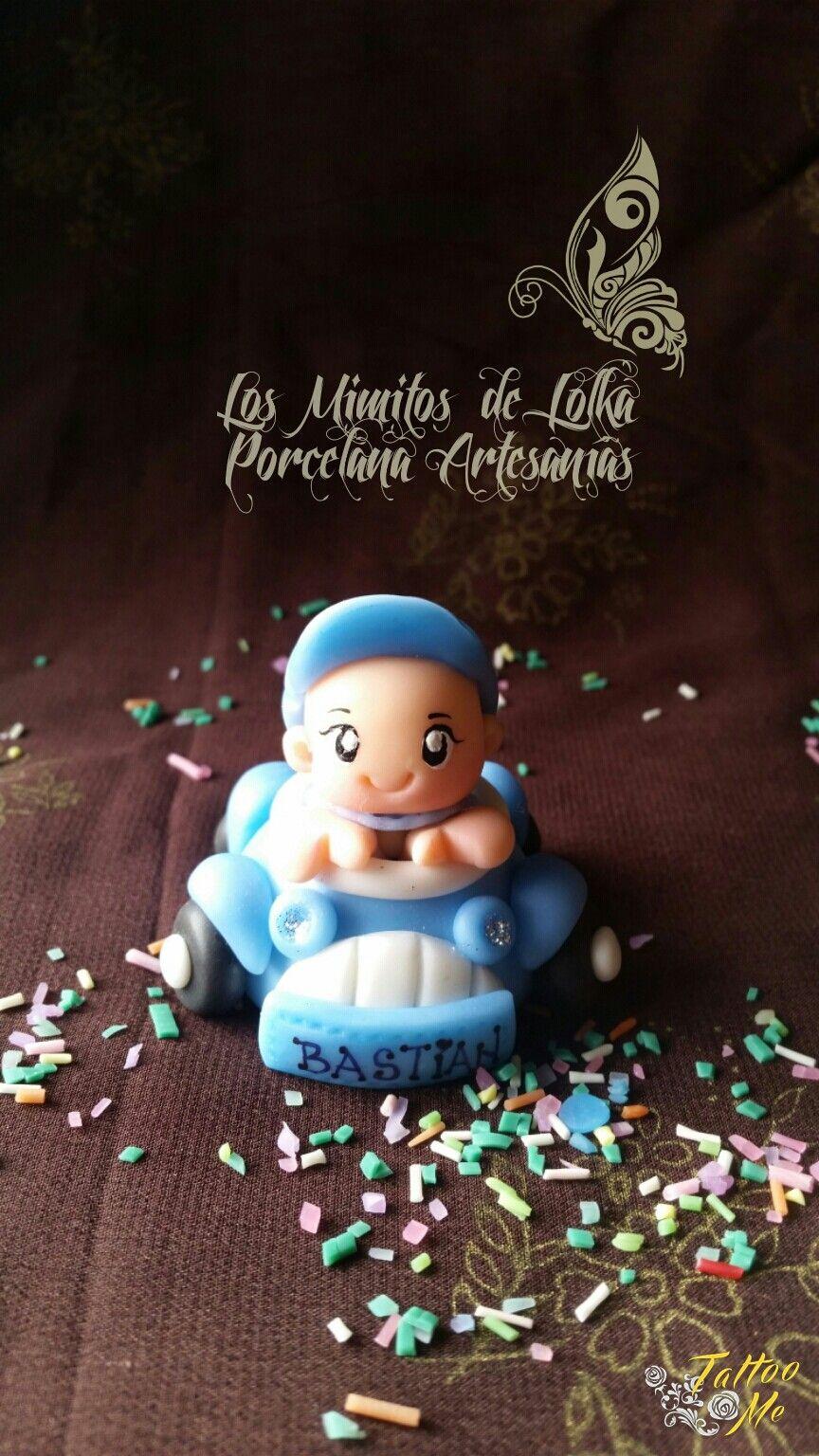 #Bebé en #autito de #porcelana fría #souvenir