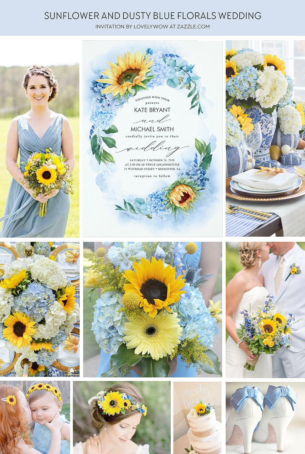 Sunflowers and Dusty Blue Hydrangea Floral Wedding