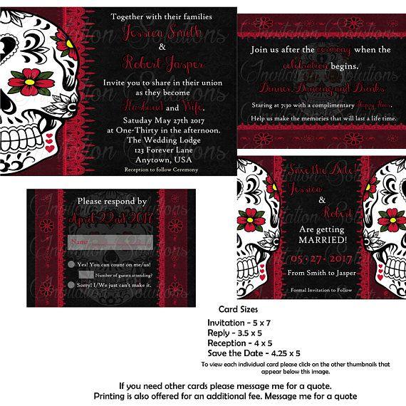 Sugar Skull Day of the Dead Wedding Invitation set Gothic Wedding