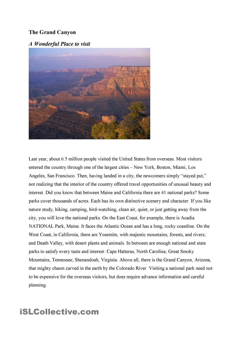 Workbooks reading comprehension worksheets for advanced esl students : Grand Canyon - a reading comprehension worksheet   Reading ...