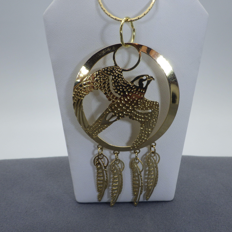 Photo of Wilde Bryde Pendant Necklace Filigree Golden Hawk Designer Signed Vintage 1980s His or Hers Goldtone Soaring Bird Larger Pendant Necklace