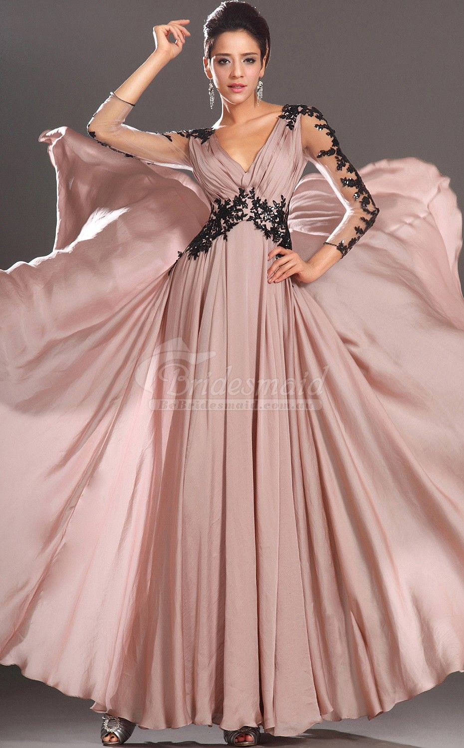 Custom Made Nude Pink Lace And Chiffon V-Neck Long Bridesmiad Dress ...