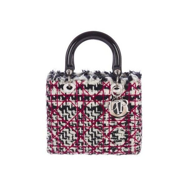 1af76df2ce9 Pre-owned Christian Dior Tweed Medium Lady Dior Bag (9,000 SAR) ❤ liked on  Polyvore featuring bags, handbags, white handbag, preowned handbags,  christian ...