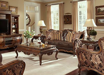 Leather And Fabric Sofa Set Lavelle Milange By Aico Living Room