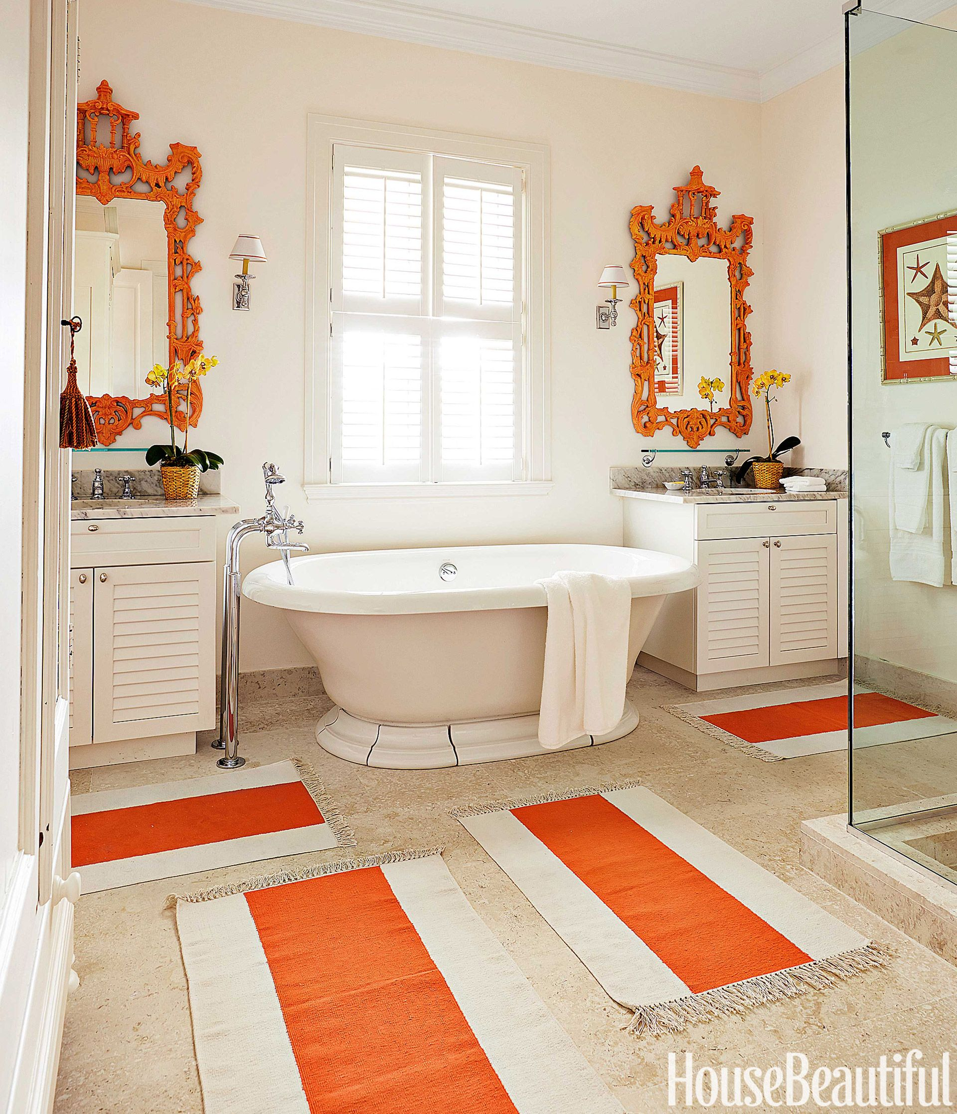 A House With Seaside Glamour Gray Bathroom Decor Orange Bathrooms Best Bathroom Colors