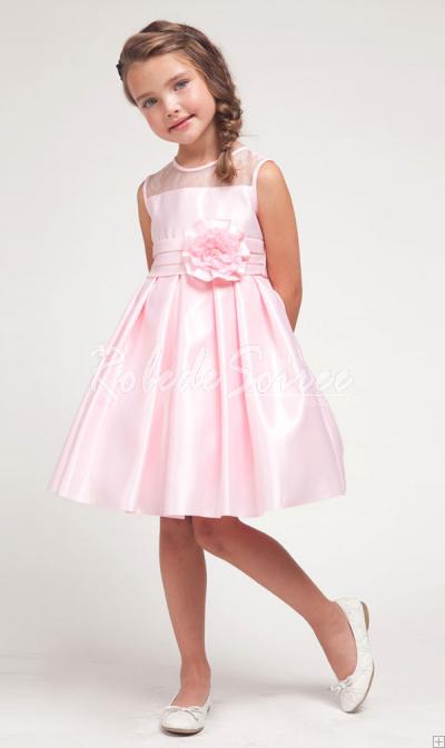 e76e92961c7 Satin de soie blanc rassemblez robe demoiselle d honneur enfant fleurs   GIRL511-6  - €66.40   Robe de Soirée Pas Cher