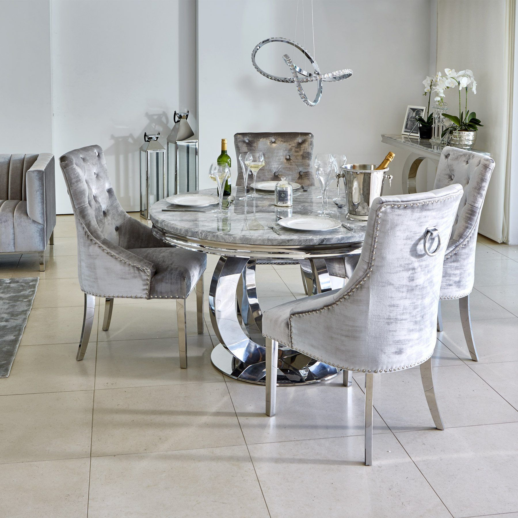 Oracle 8cm Round Grey Marble Dining Table & 8 Parker Grey Velvet