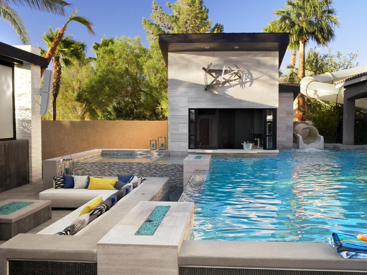 the property brothers las vegas home pool slidesscott - House Pools With Slides
