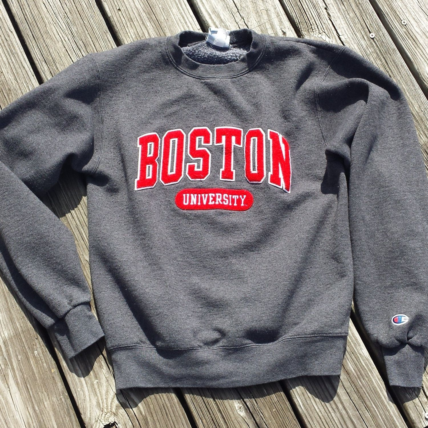 Vintage 1980s BOSTON University Women's Sweatshirt by Champion - Appliqued Lettering - SZ XS by TomieHarleneVintage on Etsy #vintageclothing #bostonu #boston