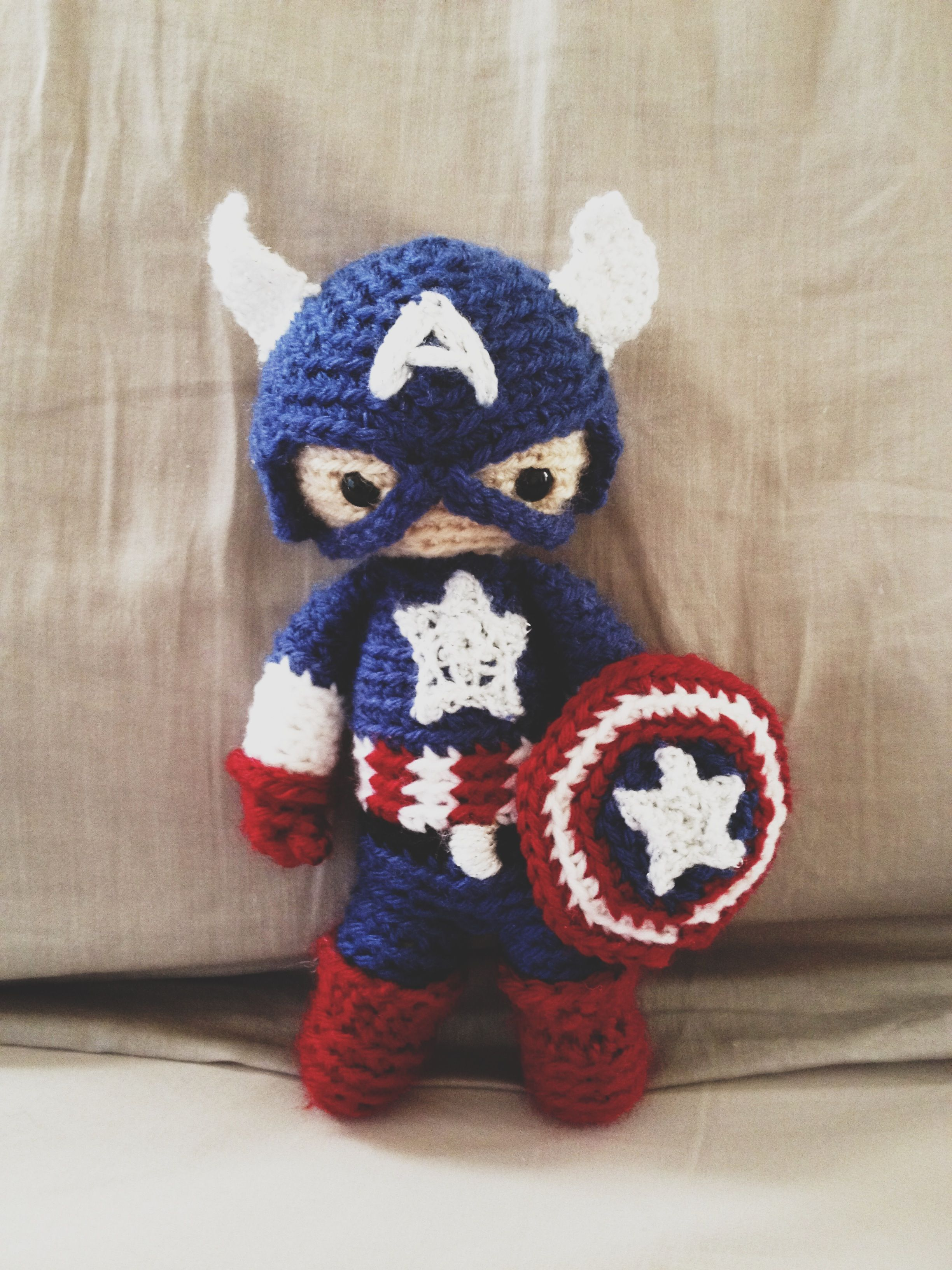 Crochet Captain America From Avengers Amigurumi That My Hubby Got