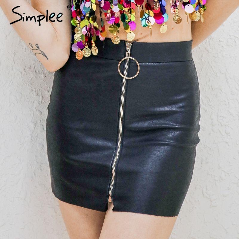41e9883bf Encontrar Más Faldas Información acerca de Simplee partido mini falda lápiz  negro zipper alta cintura falda